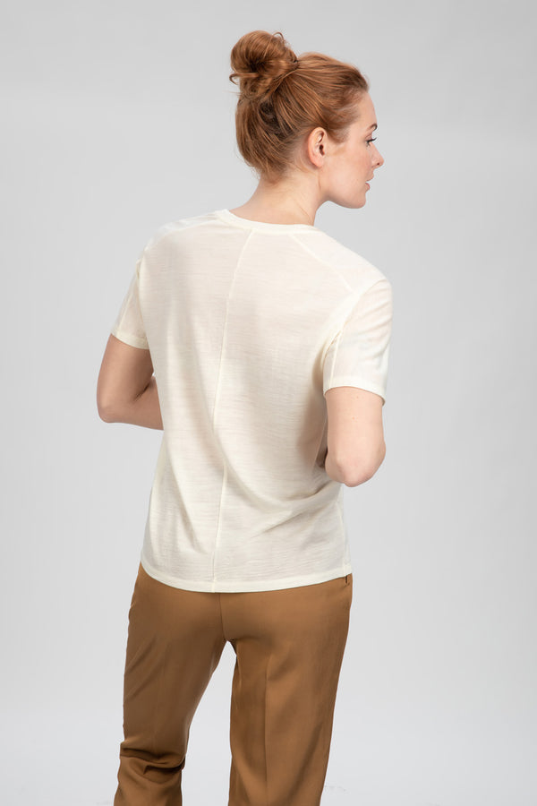 TREE T-Shirt in Merino weiß Passform relaxed hintere Ansicht