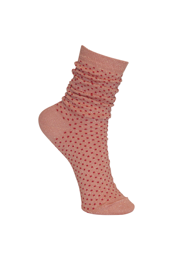 Lurex dotted sock - Rose/Red