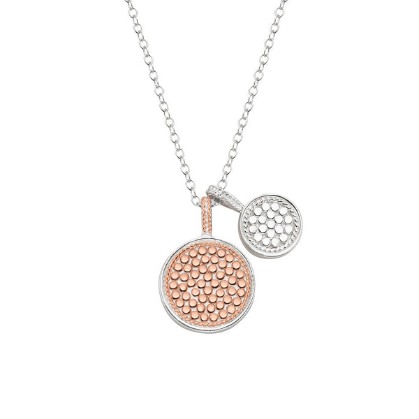 Double disc charm necklace - rose gold & silver