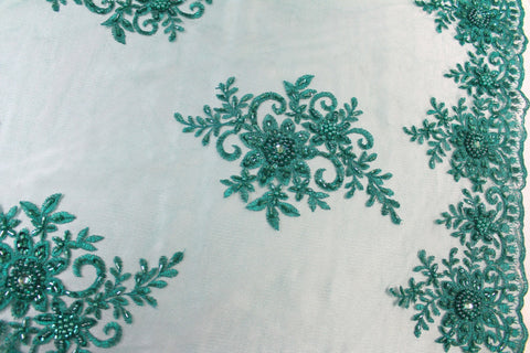 Hand Beaded Embroidered Lace- Jade - Golden D'or Fabrics
