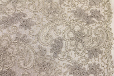 Silver Ivory Corded Embroidery - Golden D'or Fabrics