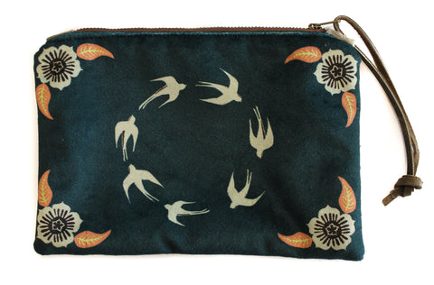 Bird circle print velvet zip clutch