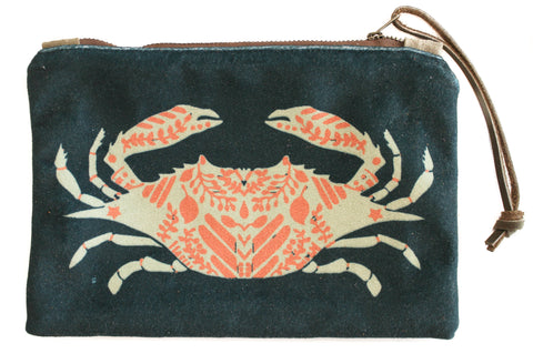 Crab print velvet zip clutch