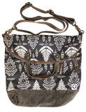 Ferry boat tote that converts to a backpack white fern on black