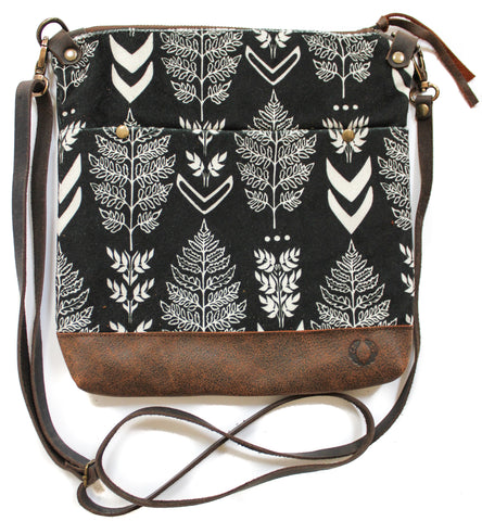 Velvet black and white fern East Chop Bag
