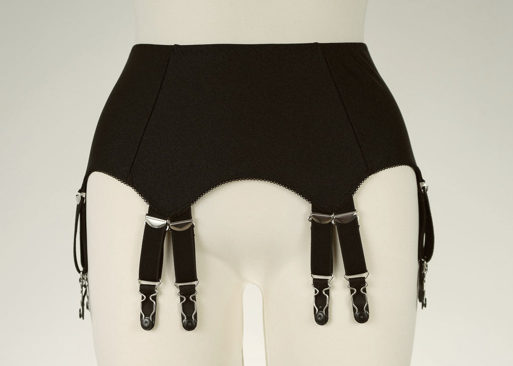 12 Straps Black or White JOAN Suspender Belt Fetish Garter Belt - Size S-4XL
