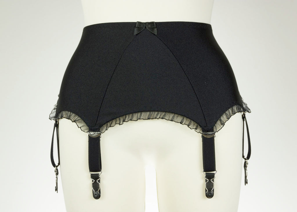 Black wide Frilly LOLA Garter Belt with ruffle trim 6 strap Retro Style White Suspenders Size XS-4XL