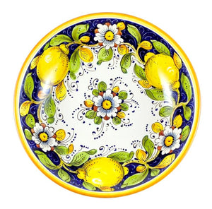 "Borgioli - Lemons on Blue - Salad Bowl - 30cm (11.8"")"