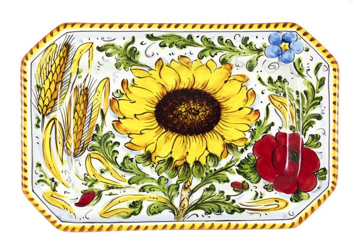 "Borgioli - Sunflower on White - 29cm x 20cm Octagonal Platter (11.4"" x 7.9"")"