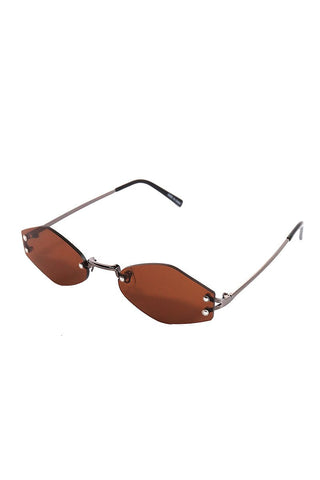 Frameless Pentagon Sunglasses-Brown