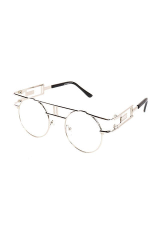Clear Boston Rim Sunglasses-Silver