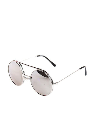 Boston Rim Flip Up Sunglasses-Silver