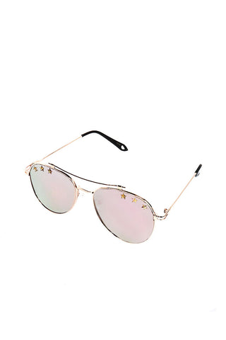 Star Aviator Sunglasses-Silver