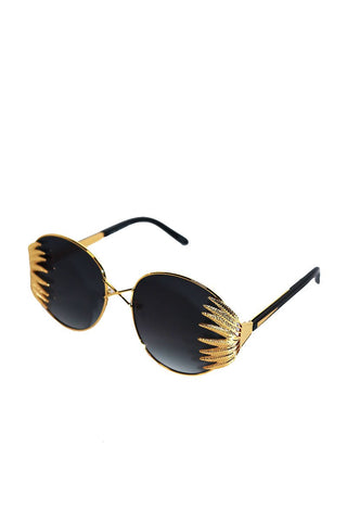 Palm Leaf Aviator Sunglasses-Gold