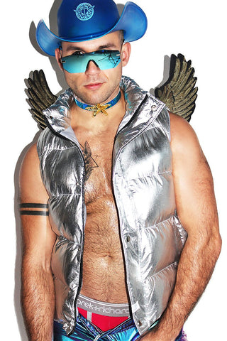 Angel Wings Metallic Vest-Silver