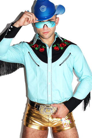 Blast Off Fringe Cowboy Shirt - Blue