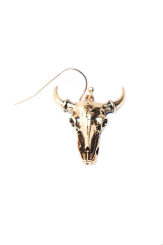 Shorthorn Skull Single Earring -Gold