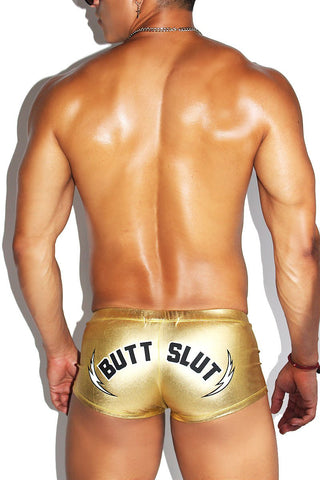 Butt Slut Metallic Laceup Trunks-Gold