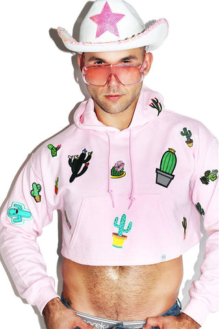 Cactus Patches Crop Long Sleeve Hoodie-Pink