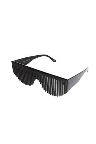 Comb Shield Sunglasses-Black
