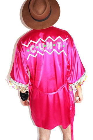Cunt Fringe Lounge Robe-Fuschia