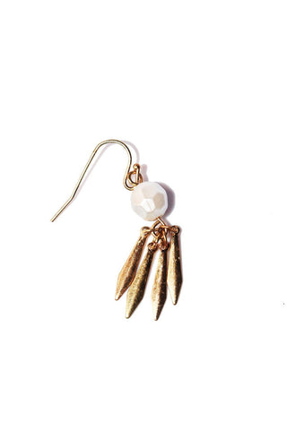 Dagger Feather Single Earring-Gold