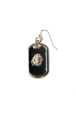 Lion Crest Dog Tag Single Earring-Gold