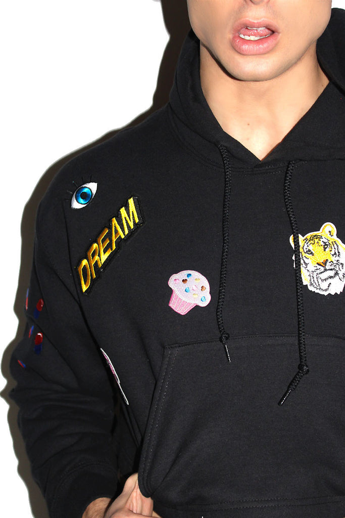 Dreamer Patches Crop Long Sleeve Hoodie-Black