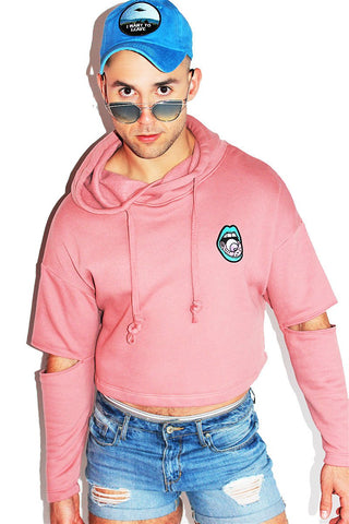 3rd Eye Floating Sleeve Crop Hoodie-Rose