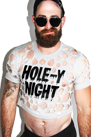 Hole-y Night Crop Tee-Grey