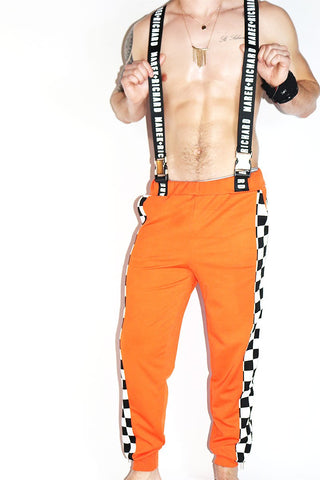 Checkerboard Utility Joggers-Orange