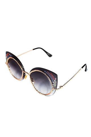 Jeweled Cat Eye Sunglasses-Black