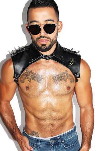 Electric Vegan Leather Collar Harness- Black