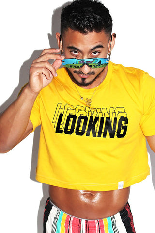 Looking Crop Tee-Gold