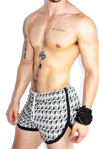 Optic Print Running Shorts-Black