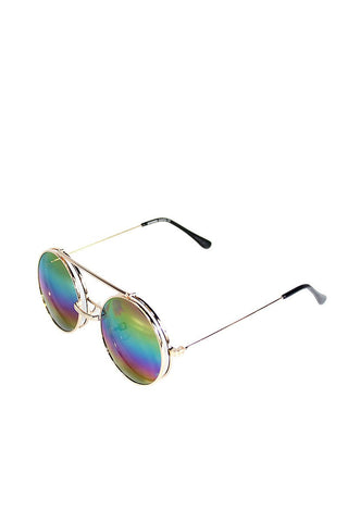 Boston Rim Oil Flip up Sunglasses-Gold