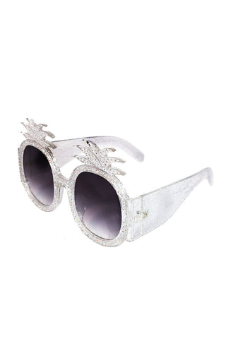 Acrylic Pineapple Rhinestone Sunglasses-White