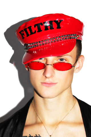 Filthy Vegan Leather Captain Hat-Red