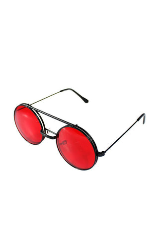 Boston Rim Flip Up Sunglasses-Red