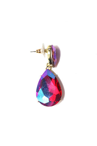 Tear Drop Gem Single Earring-Fuchsia