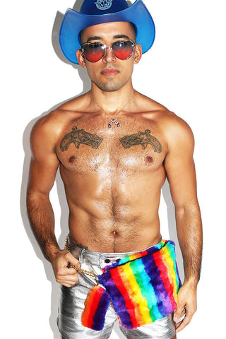 Rainbow Fur Fanny Pack-Rainbow