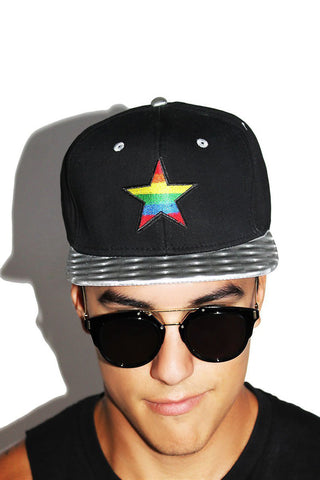 Rainbow Star Snapback Hat-Black