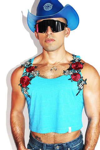 Cowboy Rose Bush Crop Racerback Tank- Neon Blue