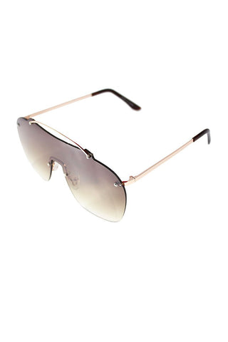 Golden Frameless Aviator Sunglasses-Gold