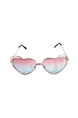 Double Rim Heart Shape Sunglasses-Blue/Pink