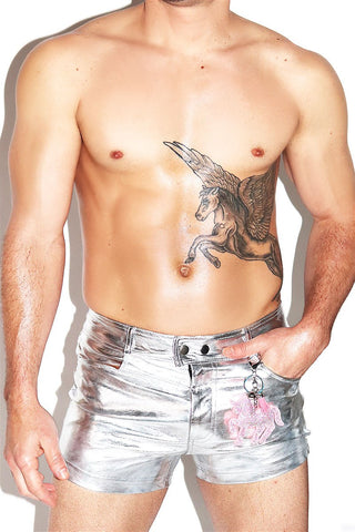 Metallic Jean Unicorn Hot Shorts- Silver