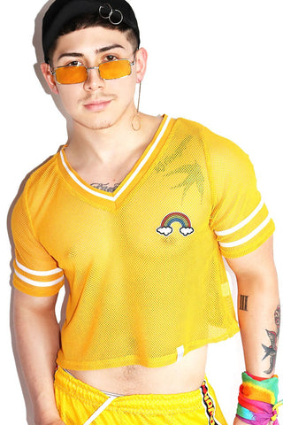 Rainbow Mesh Football Crop Tee-Yellow