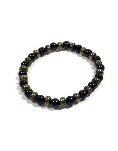 Black Tourmaline with Pyrite Rondelle Assorted - 6mm Round