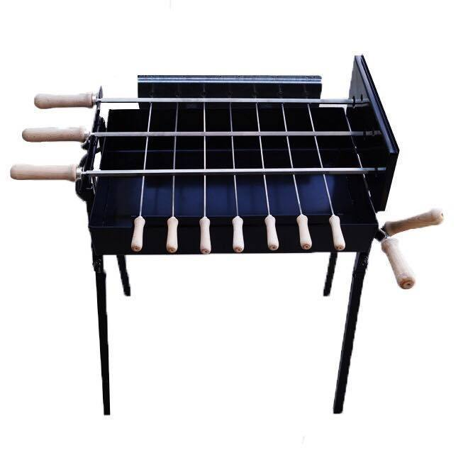 Charcoal BBQ - BBQ Set - Mini Modern Greek Cypriot Rotisserie Charcoal Barbecue -Small Black