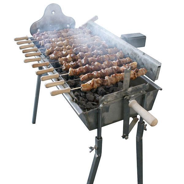 Charcoal BBQ - BBQ Set - Traditional Greek Cypriot Rotisserie Foukou Charcoal Cyprus BBQ - Stainless Steel Barbecue
